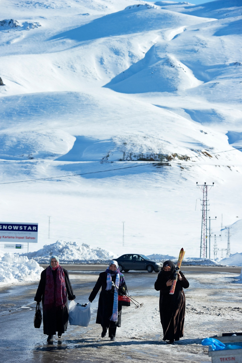 Local skiers at Mt Erciyes, Turkey